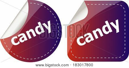 Candy Word Stickers Set, Web Icon Button
