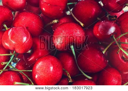 Cherry Background. Sweet organic cherries . Delicious dessert Delicious dessert sweet berries.