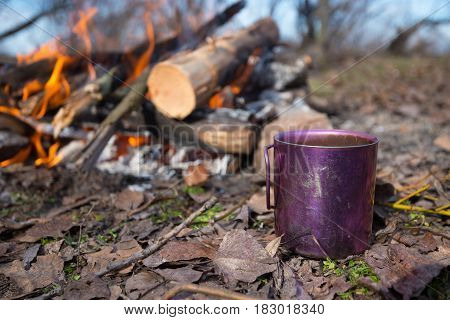Cup With Coffee Is Standing Next To A Campfire