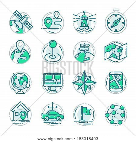 Navigation outline location pin pictogram icons thin sign vector illustration