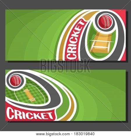 Vector horizontal Banners for Cricket game: 2 layouts for title on cricket theme, red ball flying on curve above pitch on checkered field, art banner for text on green background, sports invite ticket