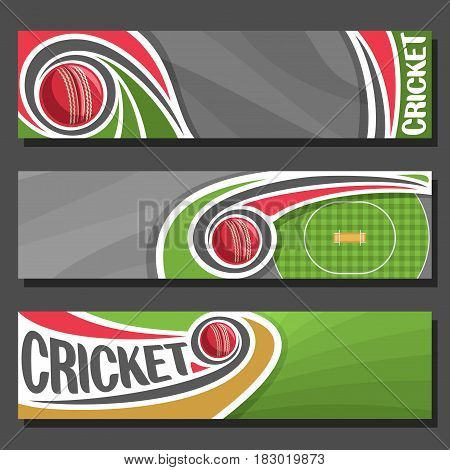 Vector Banners for Cricket game: 3 cartoon layouts for title text on cricket theme, red ball flying on curve trajectory on checkered field with pitch, header banner for inscriptions on grey background