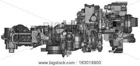 3d illustration of abstract industrial equipment technology mechanism on white background