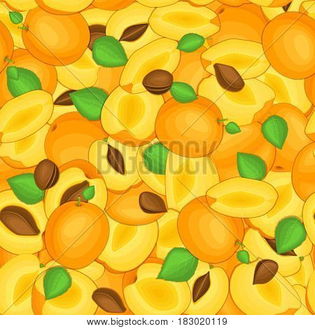 Ripe juicy apricot seamless background. Vector card illustration. Closely spaced fresh apricots fruits peeled, piece of half, slice. Apricot seamless pattern for packaging design food, juce.