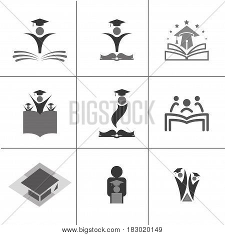 a large collection of school logo set. Education logo collection.