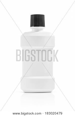 blank packaging mouthwash plastic bottle isolated on white background with clipping path