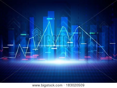 Blue abstract technology background. Stock Market background. Business concept design