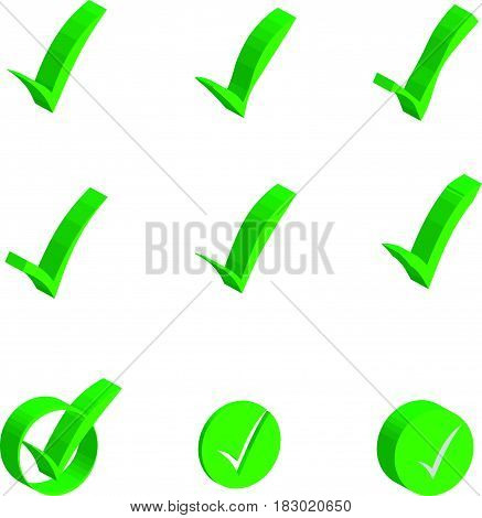 3 D check markt object icons on white background. Vector illustration.