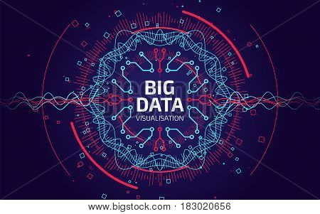 Big Data Visualization. Fractal Element With Lines And Dots Array. Big Data Connection Complex. Data