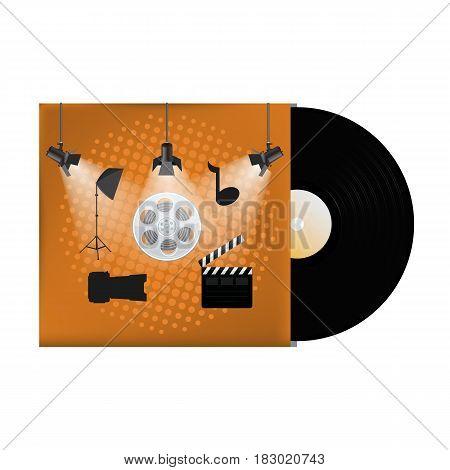 Multimedia concept poster design on vinyl cover. Vector illustration