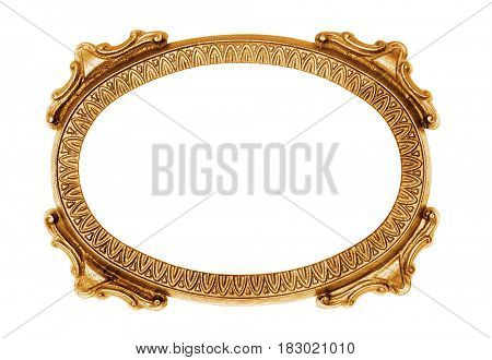 Gold oval vintage frame isolated on white -Clipping Path
