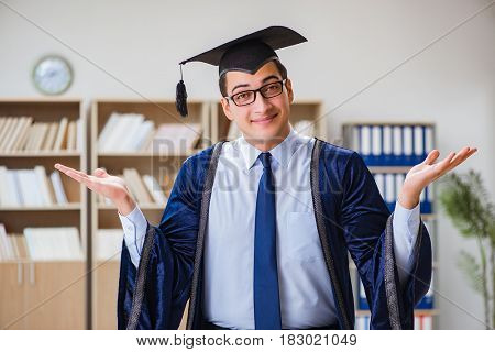 Young man graduating from university