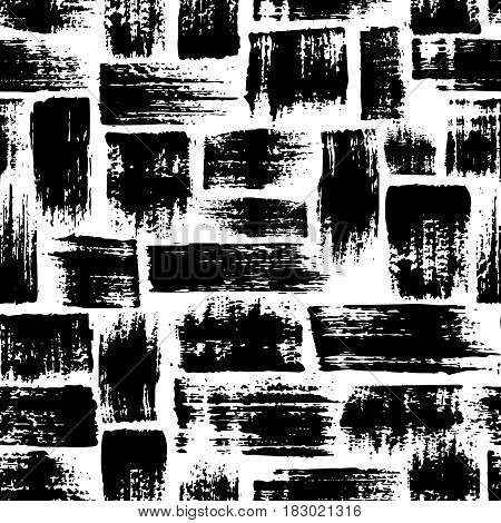 Vector seamless pattern with brush stripes and strokes. Black color on white background. Hand painted grange texture. Ink geometric elements. Fashion modern style. Endless fabric print. Retro