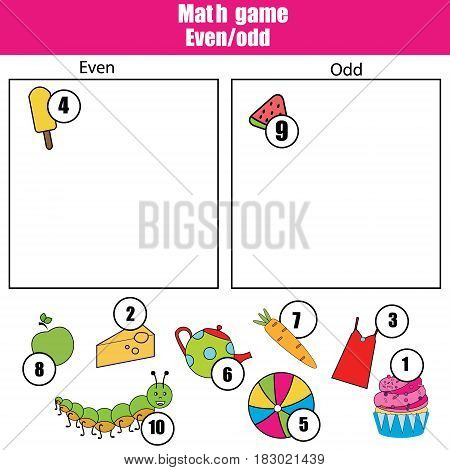 Math educational game for children. Learning even and odd numbers. Mathematics kids activity.