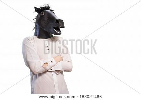 Businessman In A Horse Mask Isolated On White Background