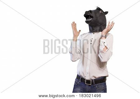 Businessman Angry With A Horse Mask Isolated On White Background