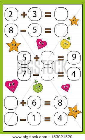 Mathematics educational game for children. Learning counting and algebra kids activity. Complete the mathematical equation. Addition and subtraction