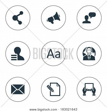 Vector Illustration Set Of Simple Newspaper Icons. Elements Gain, Cedilla, Man Considering And Other Synonyms International, Hand And Share.