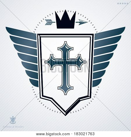 Luxury heraldic vector template. Vintage blazon composed with religious cross and royal crown