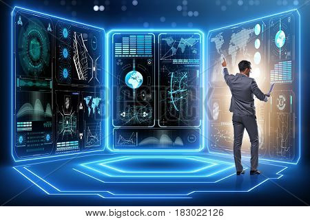 Businessman trading in world stock market