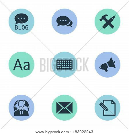 Vector Illustration Set Of Simple User Icons. Elements Keypad, Argument, Post And Other Synonyms Keyboard, Cedilla And Blog.