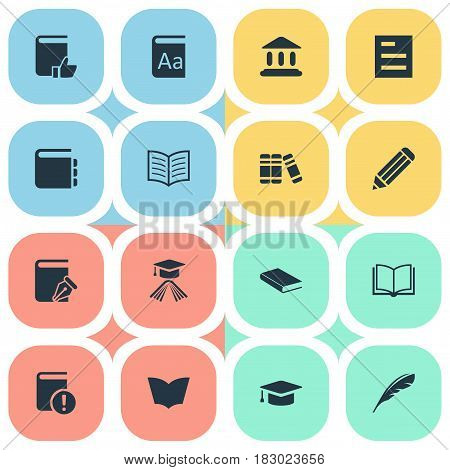 Vector Illustration Set Of Simple Education Icons. Elements Reading, Plume, Recommended Reading And Other Synonyms Literature, Textbook And Academic.