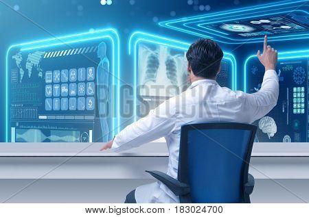 Male doctor in futuristic medical concept