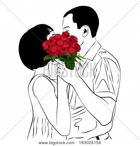 Bride and groom kiss. In Love Couple. Wedding card with the newlyweds. Contour Vector Illustration.