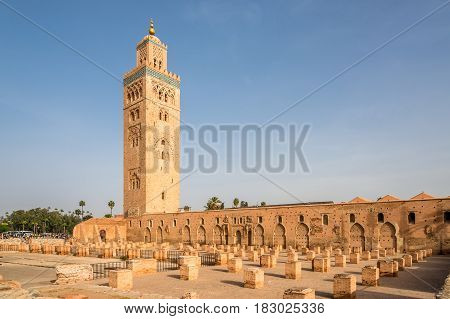 View at the Koutoubia Mosque with minaret in Marrakesh - Morocco
