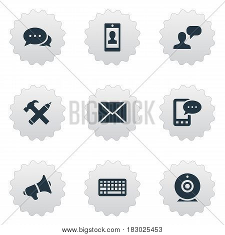Vector Illustration Set Of Simple Newspaper Icons. Elements E-Letter, Keypad, Repair And Other Synonyms Loudspeaker, Broadcast And Argument.