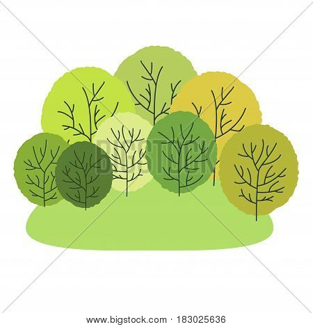 Glade. Vector illustration. Cartoon flat style. On white background