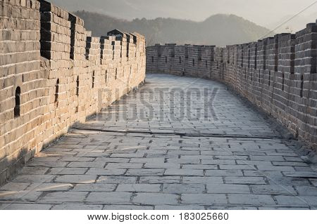 The Great Wall Of China On Scenic Footpath Trail Leading Ways - China Travel Concept