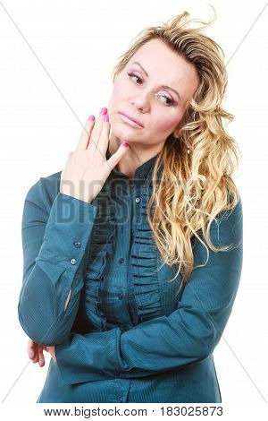 Worried Unhappy Blonde Woman