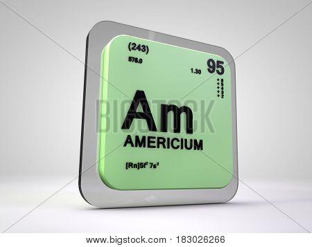 americium - Am - chemical element periodic table 3d illustration