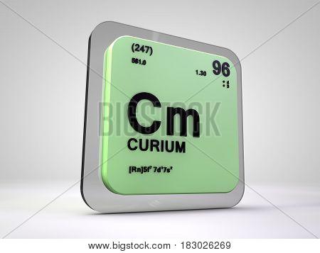 curium - Cm - chemical element periodic table 3d illustration