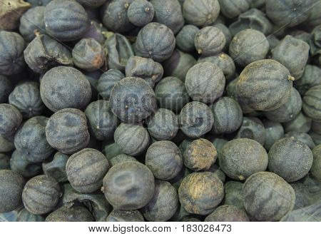 Persian dried black limes. An authentic spice used in a middle eastern cusine.