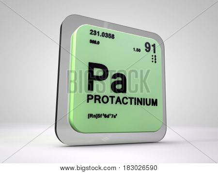 protactinium - Pa - chemical element periodic table 3d render