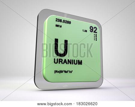 Uranium - U - chemical element periodic table 3d render