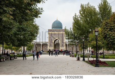 HARTANG SAMARKAND REGION UZBEKISTAN - OCTOBER 16 2016: The Imam al-Bukhari Memorial Complex is a sacred place of pilgrimage for Muslims