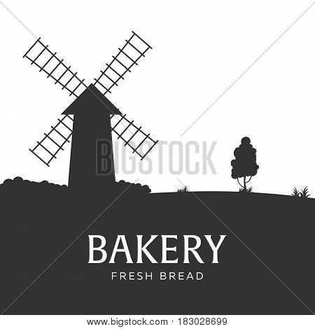 Poster Rural Landscape With Windmill. Bakery. Fresh Bread. Vector Illustration.