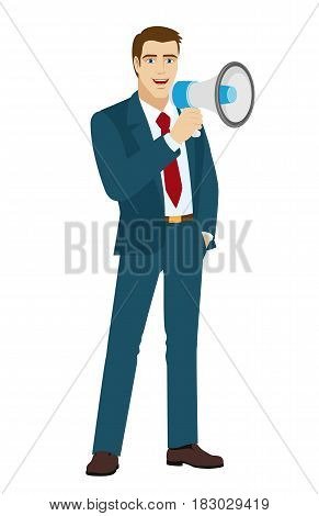 Businessman with loudspeaker. Full length portrait of businessman character in a flat style. Vector illustration.
