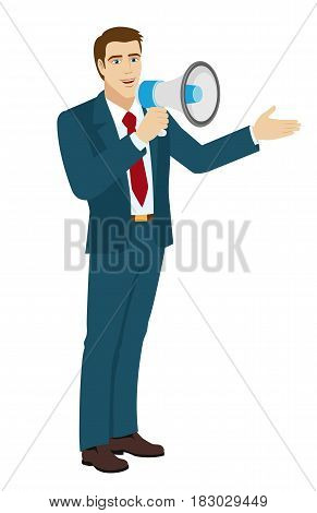 Welcome! Businessman with loudspeaker showing something beside of him. Full length portrait of businessman character in a flat style. Vector illustration.