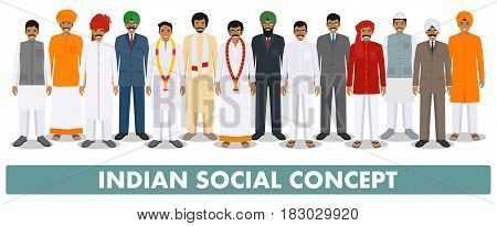 Indian men standing together in row in different traditional national clothes on white background in flat style. Flat design people characters. Social concept.