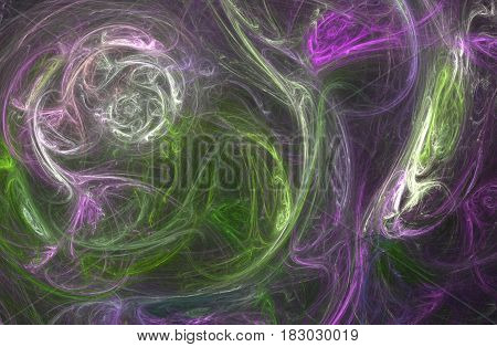 An abstract computer generated fractal design. Abstract fractal color texture. Abstract fractal illustration of a sophisticated spiral 3d-looking spiral