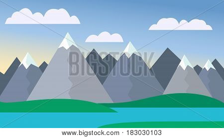 Mountain cartoon landscape with green hills and mountains with peaks under snow with lake or river in front of mountains under blue sky with clouds with mist background - vector flat