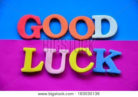 word good luck on a  abstract colorful background
