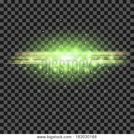 Starry Light Background. Green Glowing Lines. Speed Motion Effect. Sparcle Glitter Trail
