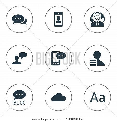 Vector Illustration Set Of Simple User Icons. Elements Cedilla, Overcast, Argument And Other Synonyms Cloud, Profile And Man.
