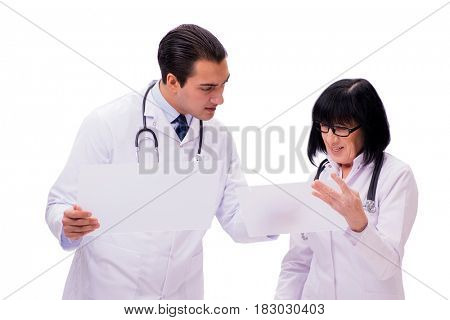 Two doctors isolated on the white background