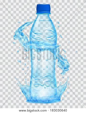 Transparent water crown and water splashes in light blue colors around a light blue transparent plastic bottle with blue cap filled with mineral water. Transparency only in vector file